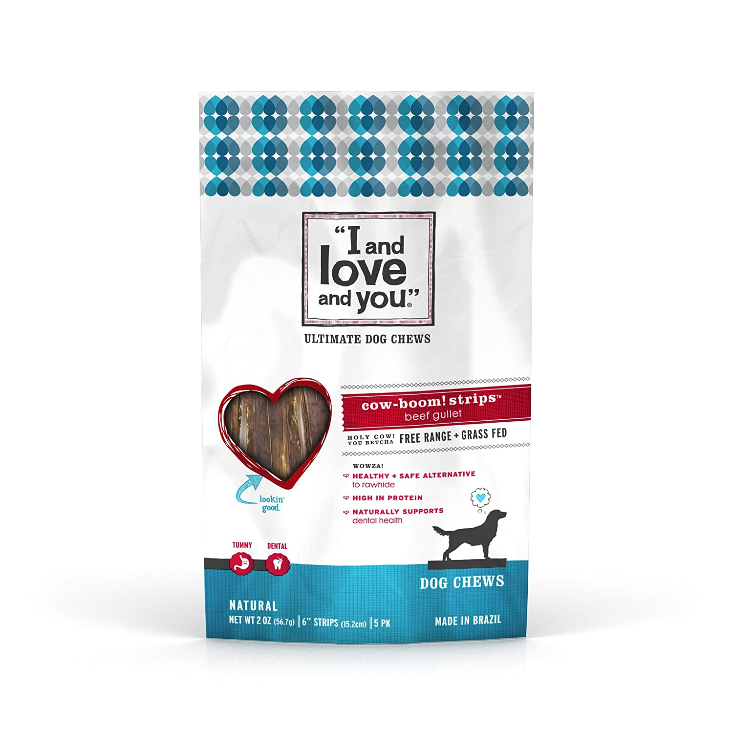 """I and love and you"" Cow Boom! Beef Gullet Strips Grain Free Dog Chews"