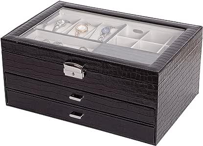 Mele & Co. Alana Glass Top Locking Jewelry Box in Black Croco Faux Leather
