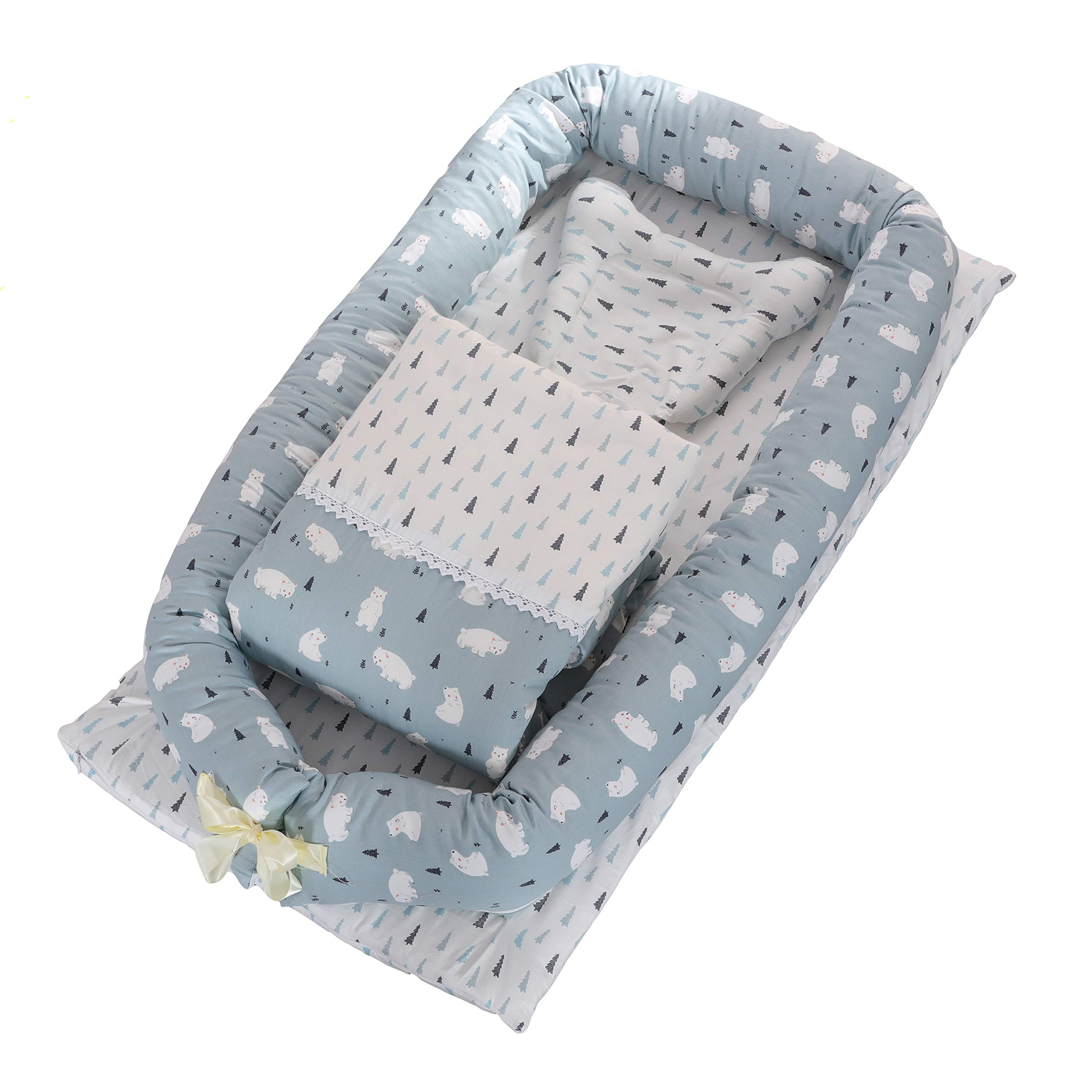 DOLDOA Baby Bassinet for Bed Portable Baby Lounger for Newborn,100% Cotton Newborn Portable Crib,Breathable and Hypoallergenic Sleep Nest Newborn Lounger Pillow for Bedroom/Travel (Bear)