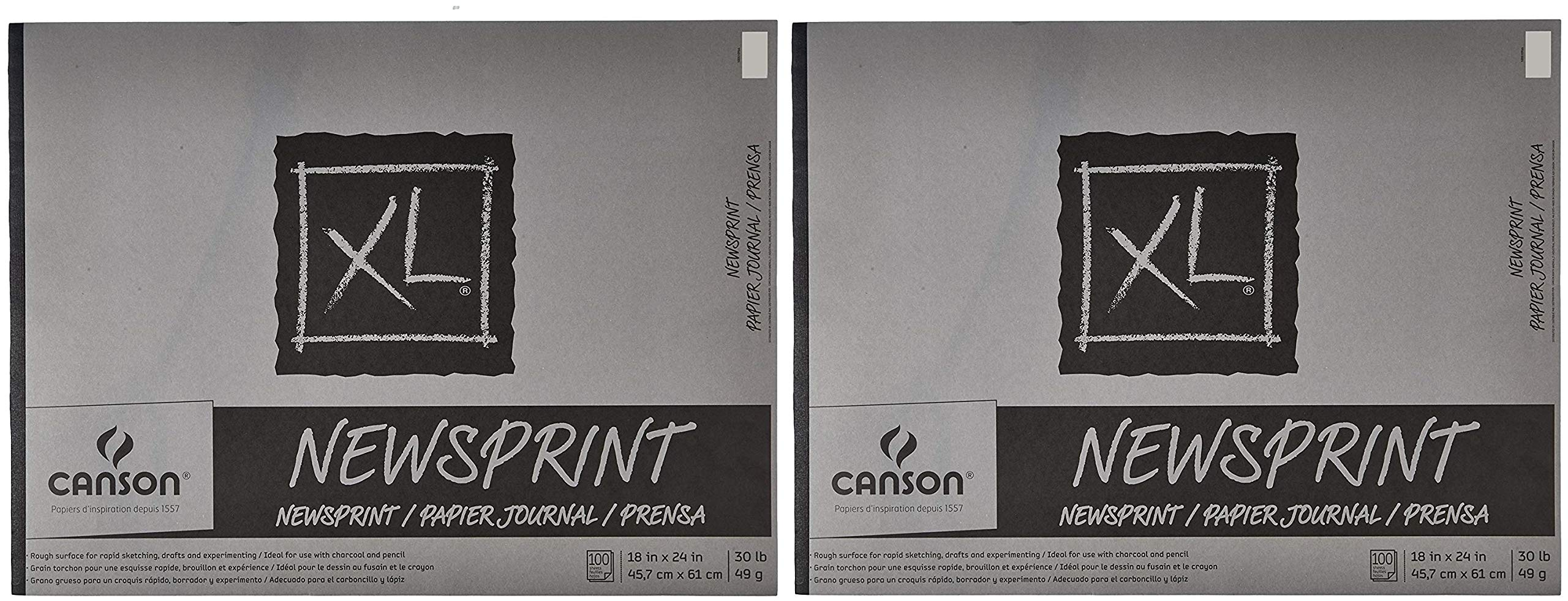Canson Biggie Newsprint Pad - 18 x 24 Inches - 100 Sheet Pad (2-(Pack))