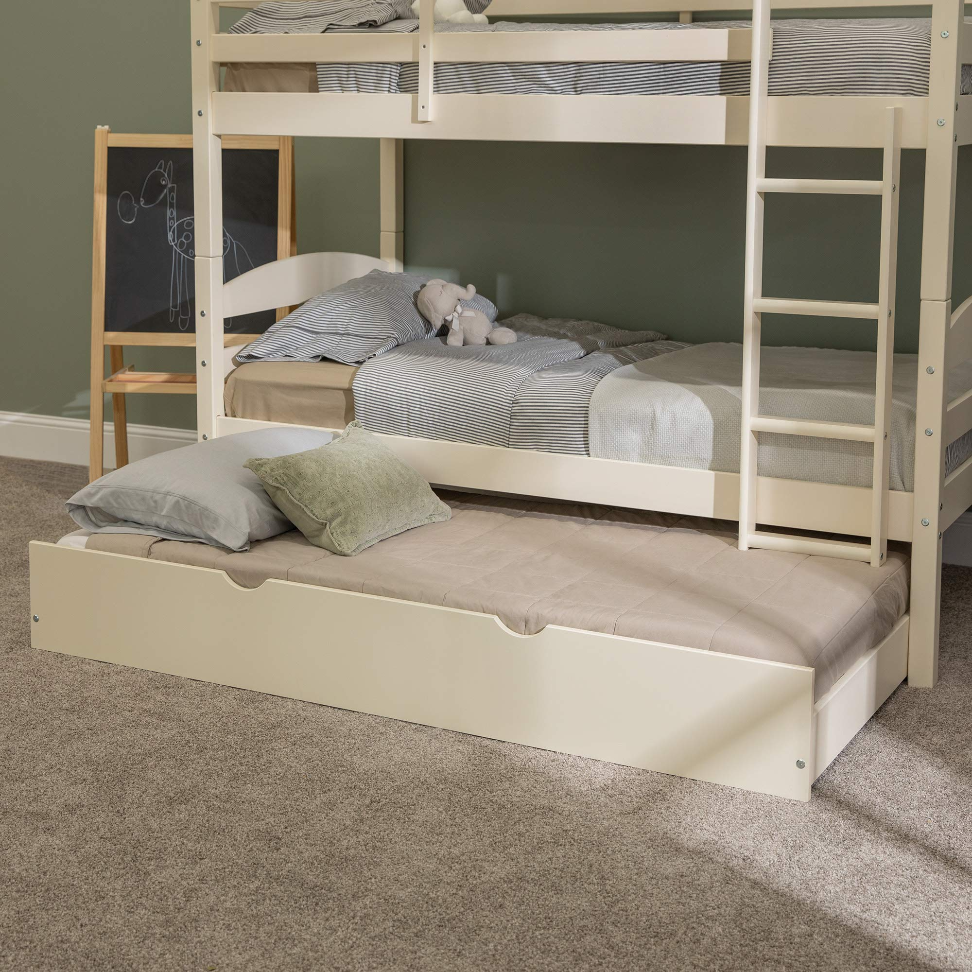 Walker Edison Furniture Company Solid Wood Twin Trundle Kids Bed Frame With Wheels, White