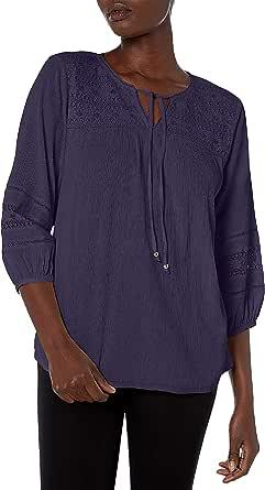 Bandolino Women's Addison Cotton Crinkle Peasant Top