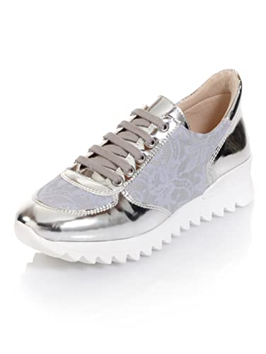 Alba Moda Damen Sneaker mit modischen Spitzeneinsätzen