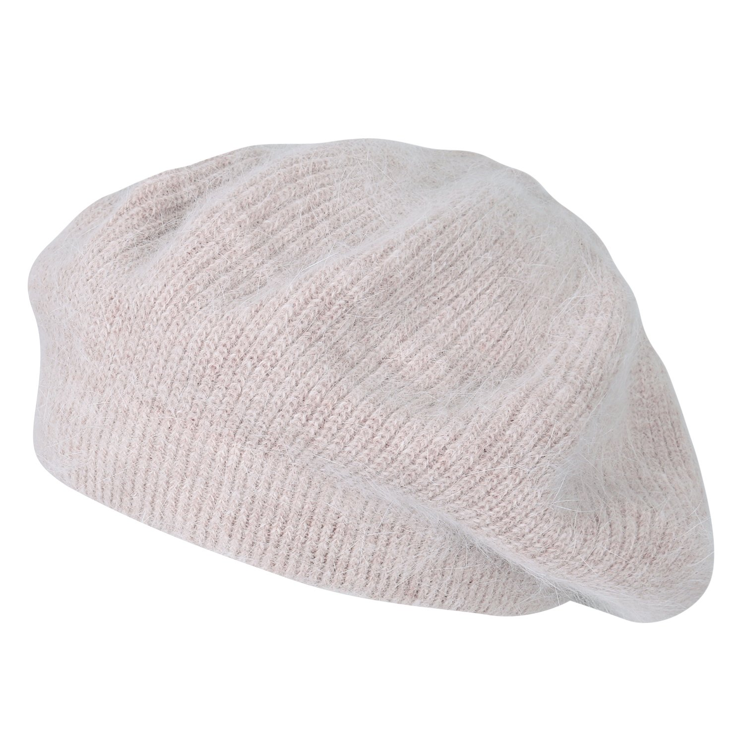 ililily Solid Color Angora French Beret Knit Artist Flat Winter Hat, Beige
