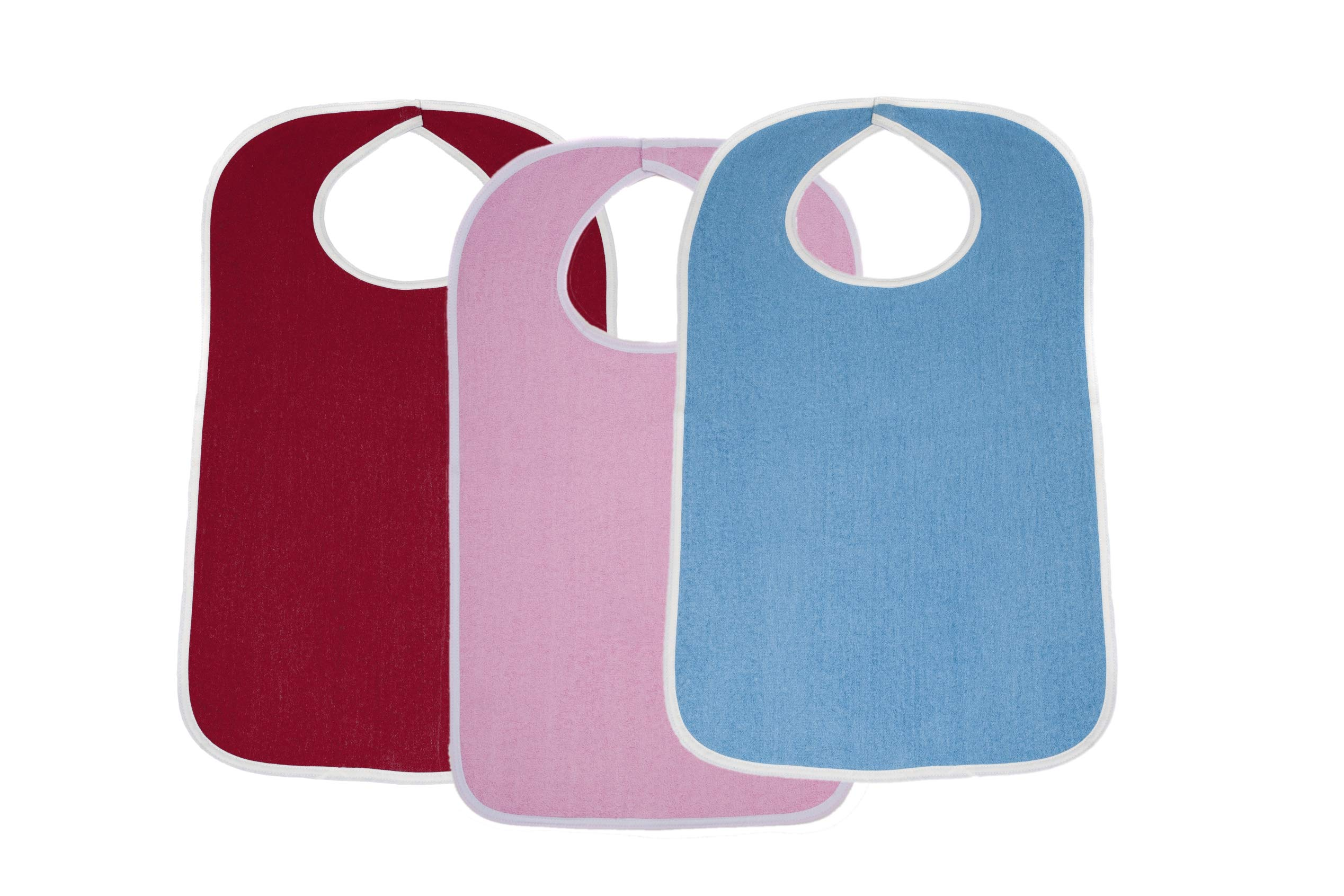Terry Cloth Adult Size Senior Bib Value Pack with Hook & Loop Closure - Elderly Men and Women Food Catcher Solutions (Assorted Pack 2, 36 Pack)