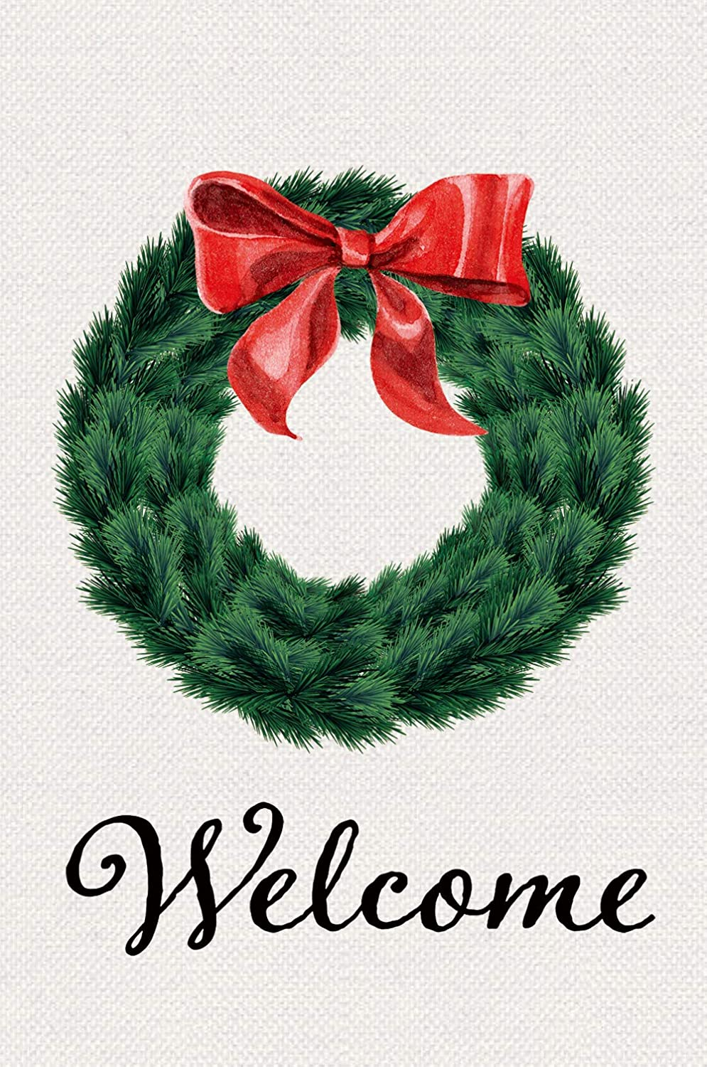 "Texupday Welcome Christmas Pine Needles Wreath Double Sided Decorative Winter Burlap Garden Flag 12"" x 18"""
