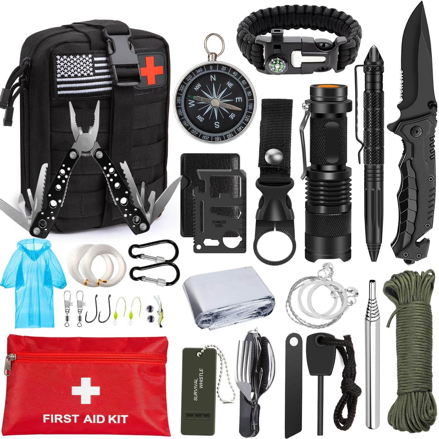 Emergency Survival Kit 47 in 1 Professional Survival Gear Tool First Aid Kit SOS Emergency Tactical Flashlight Knife Pliers Pen Blanket Bracelets Compass with Molle Pouch for Camping Adventures: Health & Personal Care