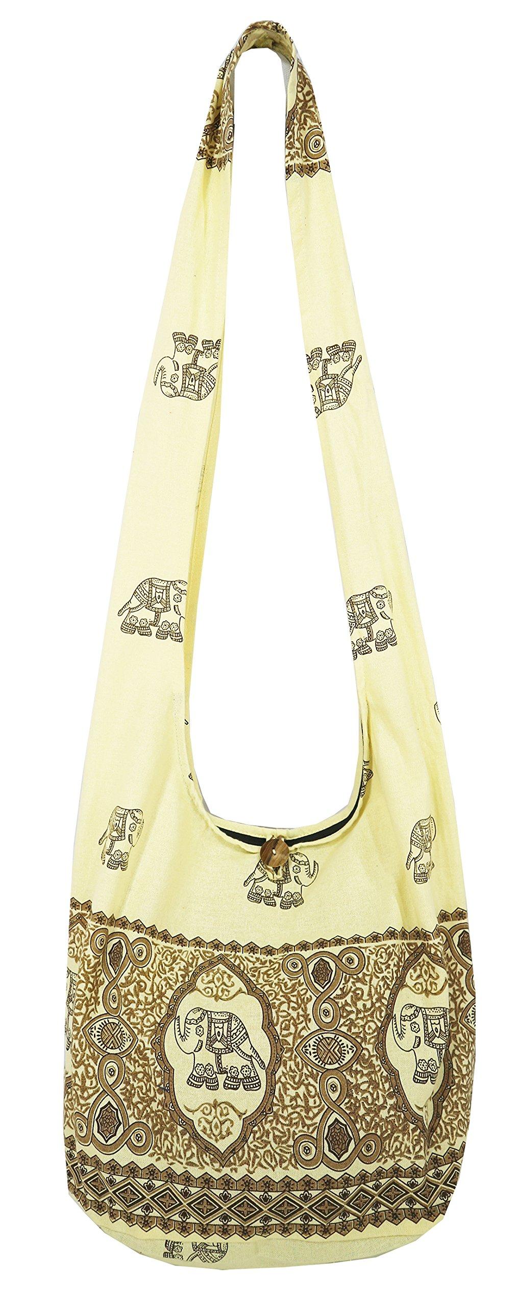 Lovely Creations's Hippie Boho New Elephant Crossbody Bohemian Gypsy Sling Shoulder Large Size (MM Cream)