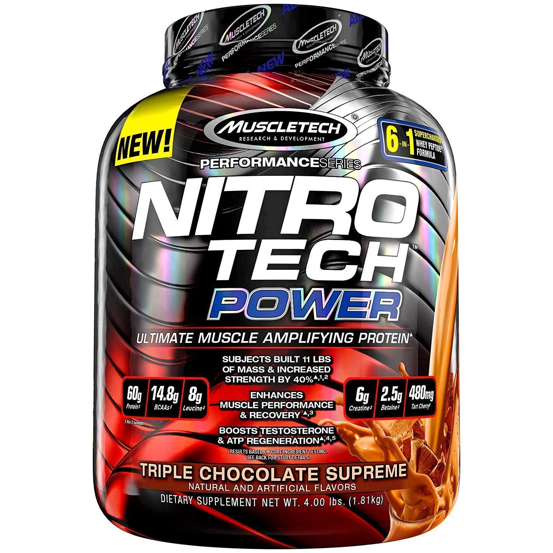 MuscleTech Nitro Tech Power Whey Protein Powder Musclebuilding Formula, Triple Chocolate Supreme, 4 Pounds