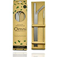 Stainless Steel Reusable Straws with Cleaning Brush, Extra Long 267mm (10.5 inch), Dishwasher Safe, Premium Box…