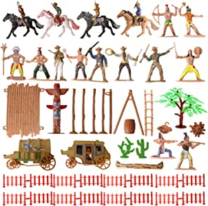56 Pcs Plastic Indian Figures Playset Toy Native American Figures with Horse, Tent, Totem etc. Wild West Cowboy Miniature Kit Great for Kids Children as School Project, Christmas,Birthday Gift