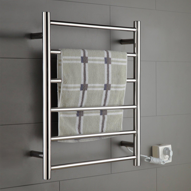 ONDA Towel Warmer Stainless Steel Wall Mounted Heated 6 Bars 110-120V