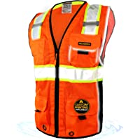 KwikSafety (Charlotte, NC) CLASSIC (10 Pockets) Class 2 ANSI High Visibility Reflective Safety Vest Heavy Duty Mesh with Zipper and HiVis for OSHA Construction Work HiViz Men Orange Black XXL