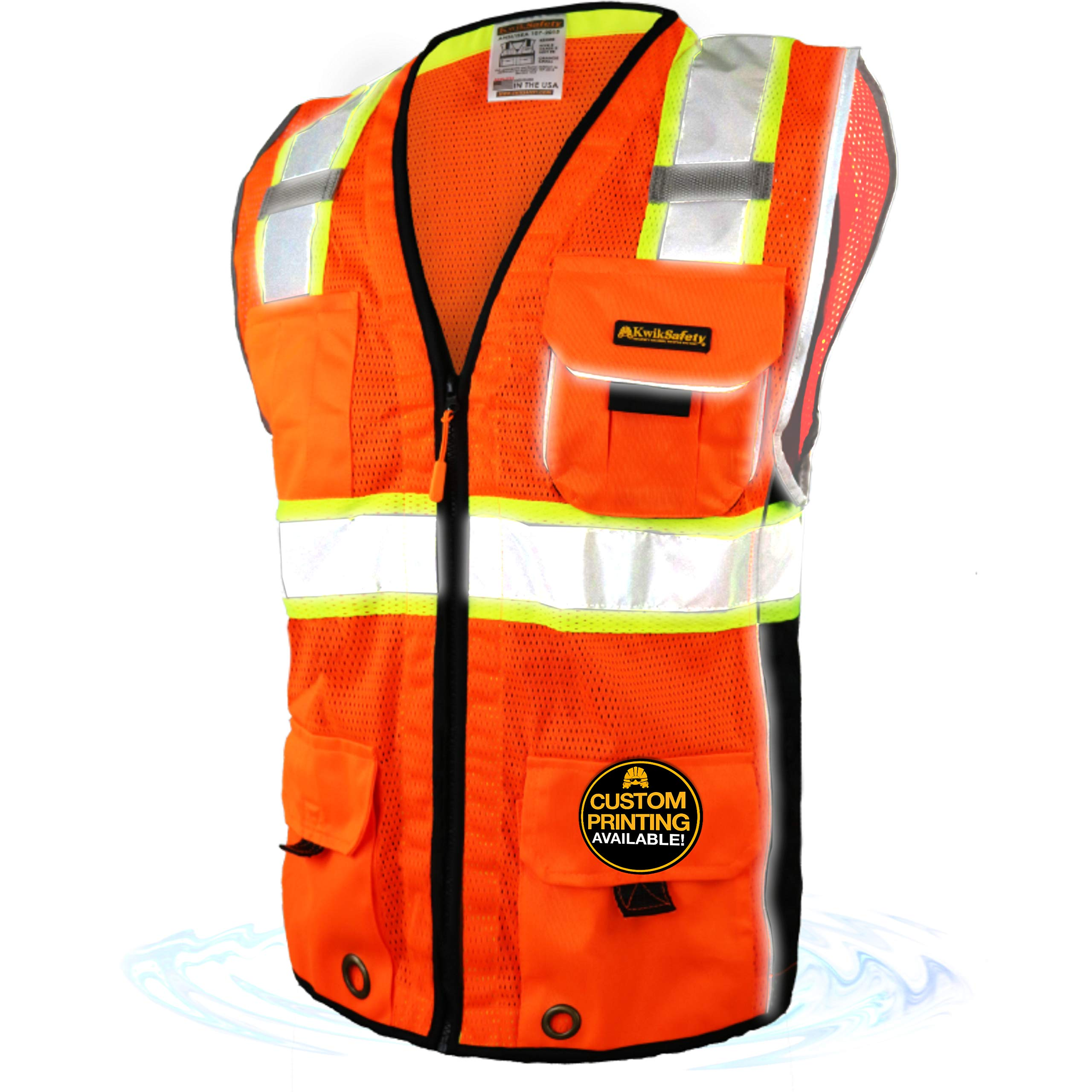 KwikSafety (Charlotte, NC) CLASSIC (10 Pockets) Class 2 ANSI High Visibility Reflective Safety Vest Heavy Duty Mesh with Zipper and HiVis for OSHA Construction Work HiViz Men Orange Black Large by KwikSafety