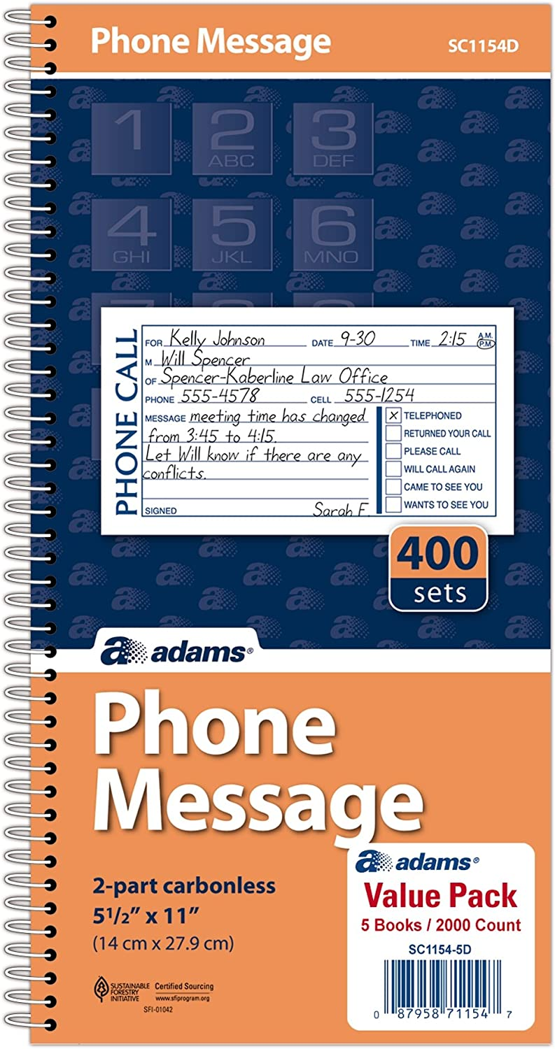 Adams Message Book/Phone Call, Carbonless Duplicate, 5.50 x 11 Inches, 400 Sets per Book (SC1154D), White/Canary (SC1154-5D)