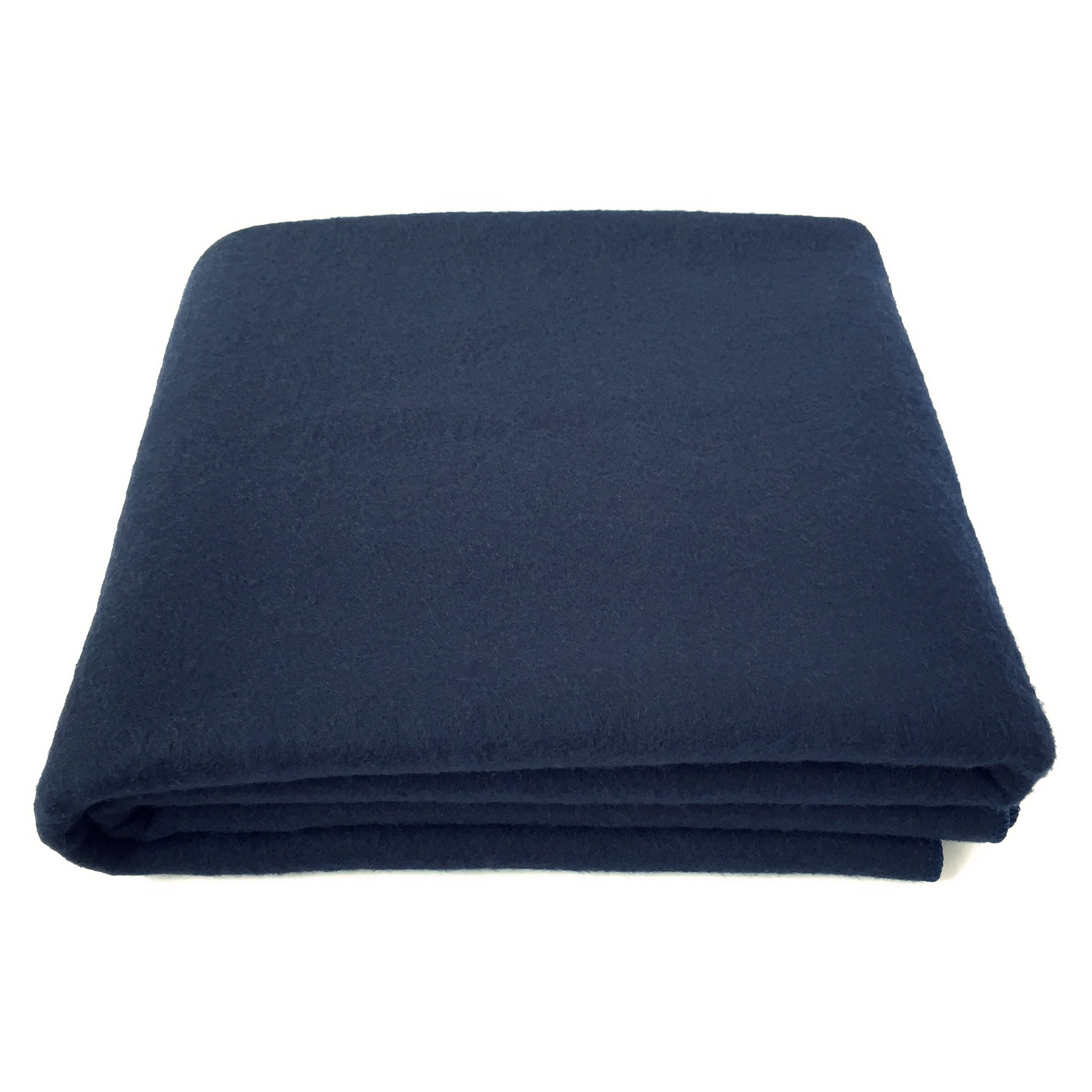 EKTOS 100% Wool Blanket, Navy Blue, Warm & Heavy 5.5 lbs, Large Washable 66''x90'' Size, Perfect for Outdoor Camping, Survival & Emergency Preparedness Use