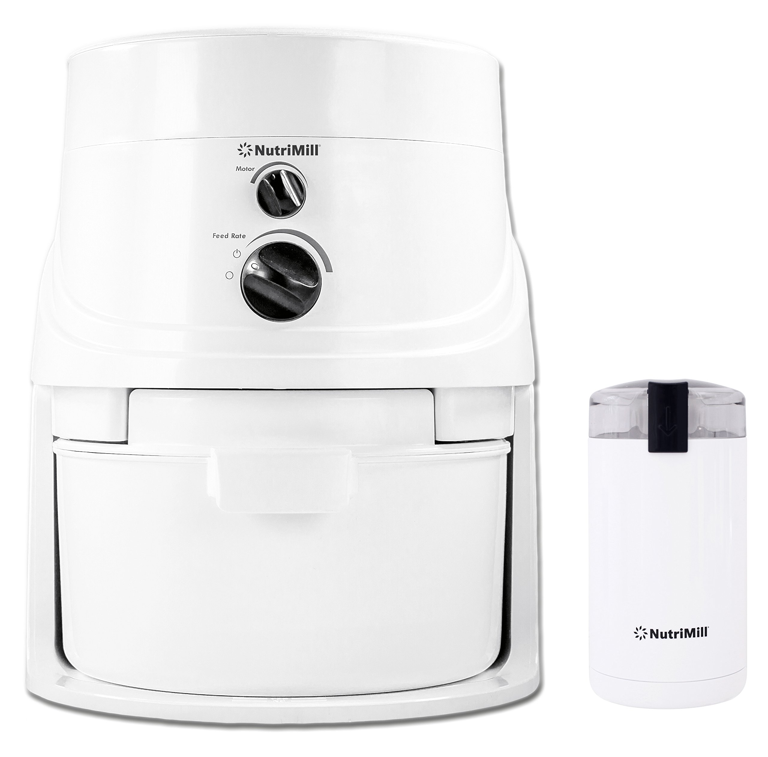 LEQUIP NutriMill Classic High-Speed Grain/Flour Mill with Mini Seed/Coffee Mill,White,20 Cup by L'EQUIP