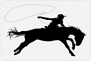 Lunarable Cartoon Pet Mat for Food and Water, Silhouette of Cowboy Riding Horse Rider Rope Sport Country Western Style Art, Rectangle Non-Slip Rubber Mat for Dogs and Cats, Black and White