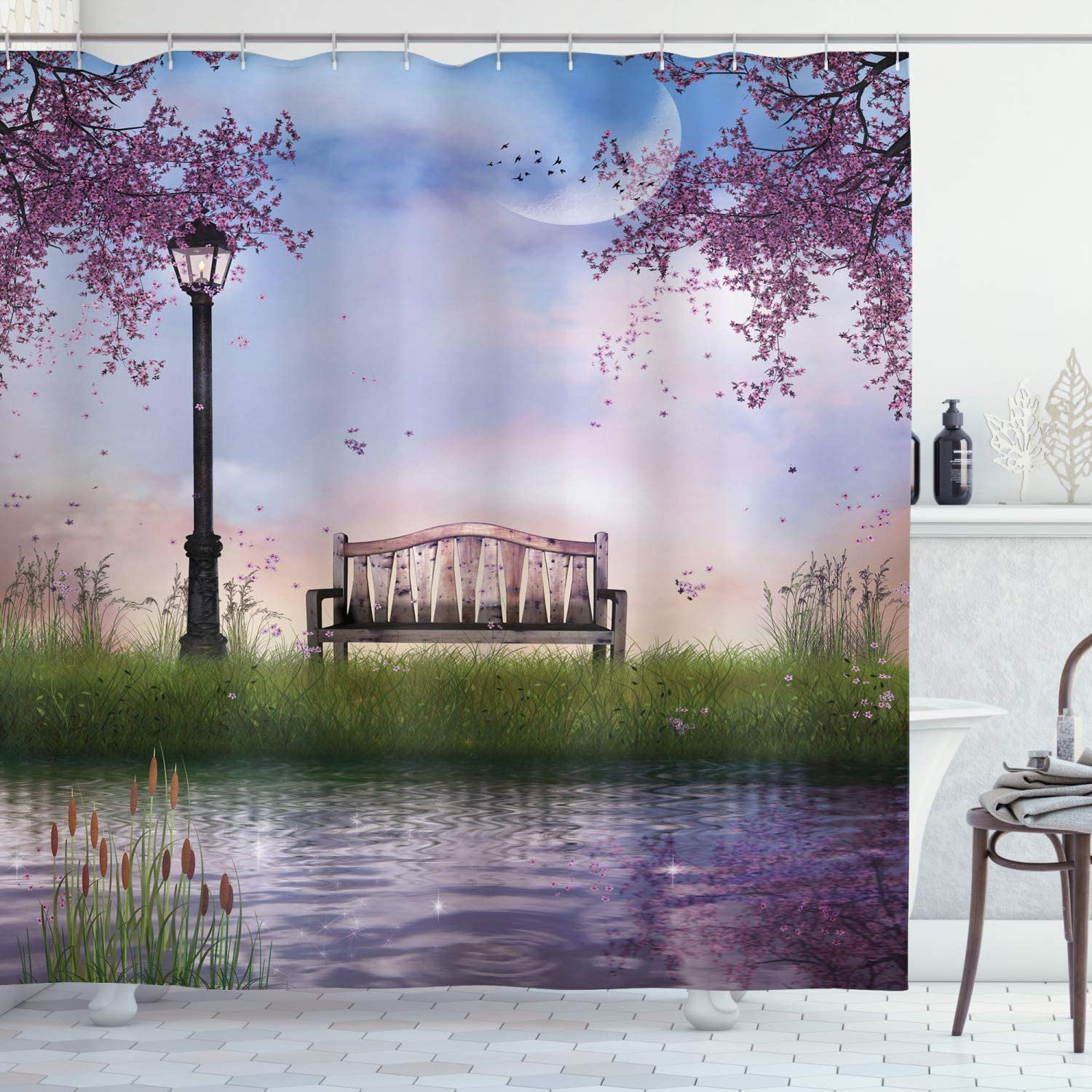 Ambesonne Nature Shower Curtain, Bench on Flowing River with Crescent Moon Lavender Trees and Grass Illustration, Cloth Fabric Bathroom Decor Set with Hooks, 70