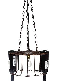 Leitmotiv mini glass bottle chandelier modern chandelier amazon creative co op metal chandelier holds 12 empty wine bottles 15 round by mozeypictures Images