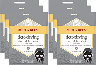 product image for Burt's Bees Detoxifying Charcoal Facial Sheet Mask, Single Use Face Mask, Pack of 6 (Package May Vary)