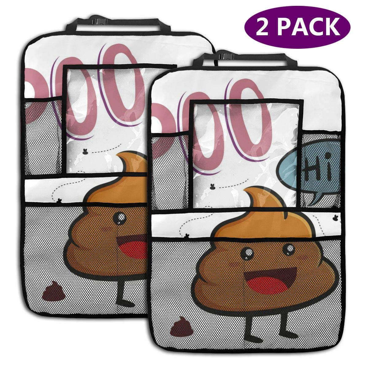 Friendly Poop Character 2 Pack Car Seat Organizer Kick Mat Protector Durable Quality Seat Covers Protectors by LZQEEN