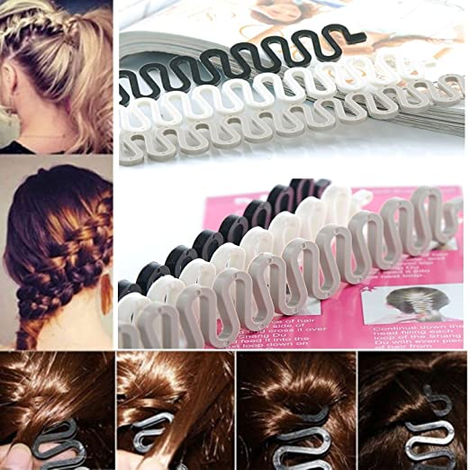 Amazon Com 6pcs Beautymood Fashion French Hair Styling Clip French Braid Tool Bun Maker Braid Tool Hair Accessories Twist Plait Hair Braiding Tool Black Gray And White Beauty