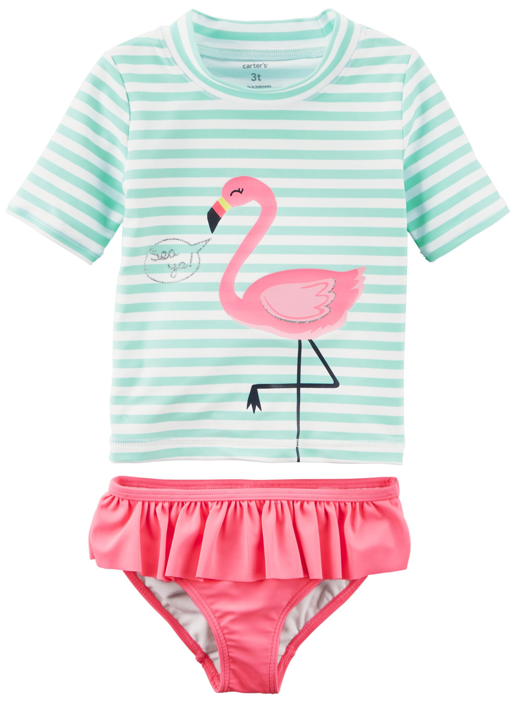 Carter's Girls' Two-Piece Swimsuit, Mint Pink Flamingo, 18 Months