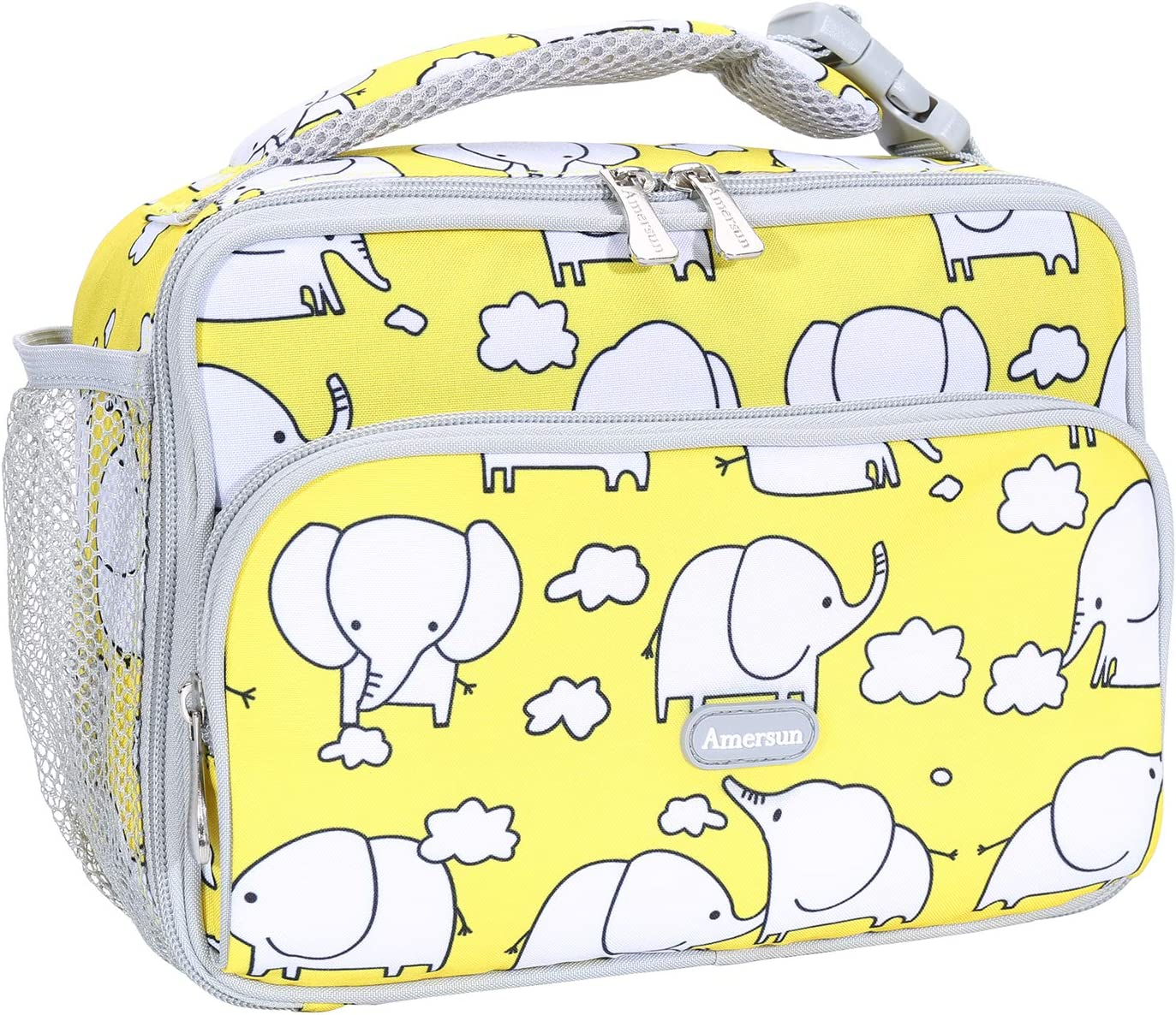 Amersun Kids Lunch Box,Durable Insulated School Lunch Bag with Padded Liner Keeps Food Hot Cold for Long Time,Small Thermal Travel Lunch Cooler for Girls Boys-2 Pocket,Cartoon elephant