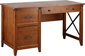 "Amazon Brand – Ravenna Home Solid Pine Writing Desk, 53.25""W, Antique Espresso"