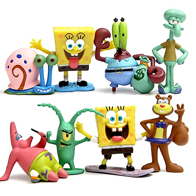 ONOGAL Bob Esponja Colección de 8 personajes figuras Spongebob Calamardo Patricio Señor Cangrejo Arenita Plancton y Gari 4680: Amazon.es: Juguetes y juegos