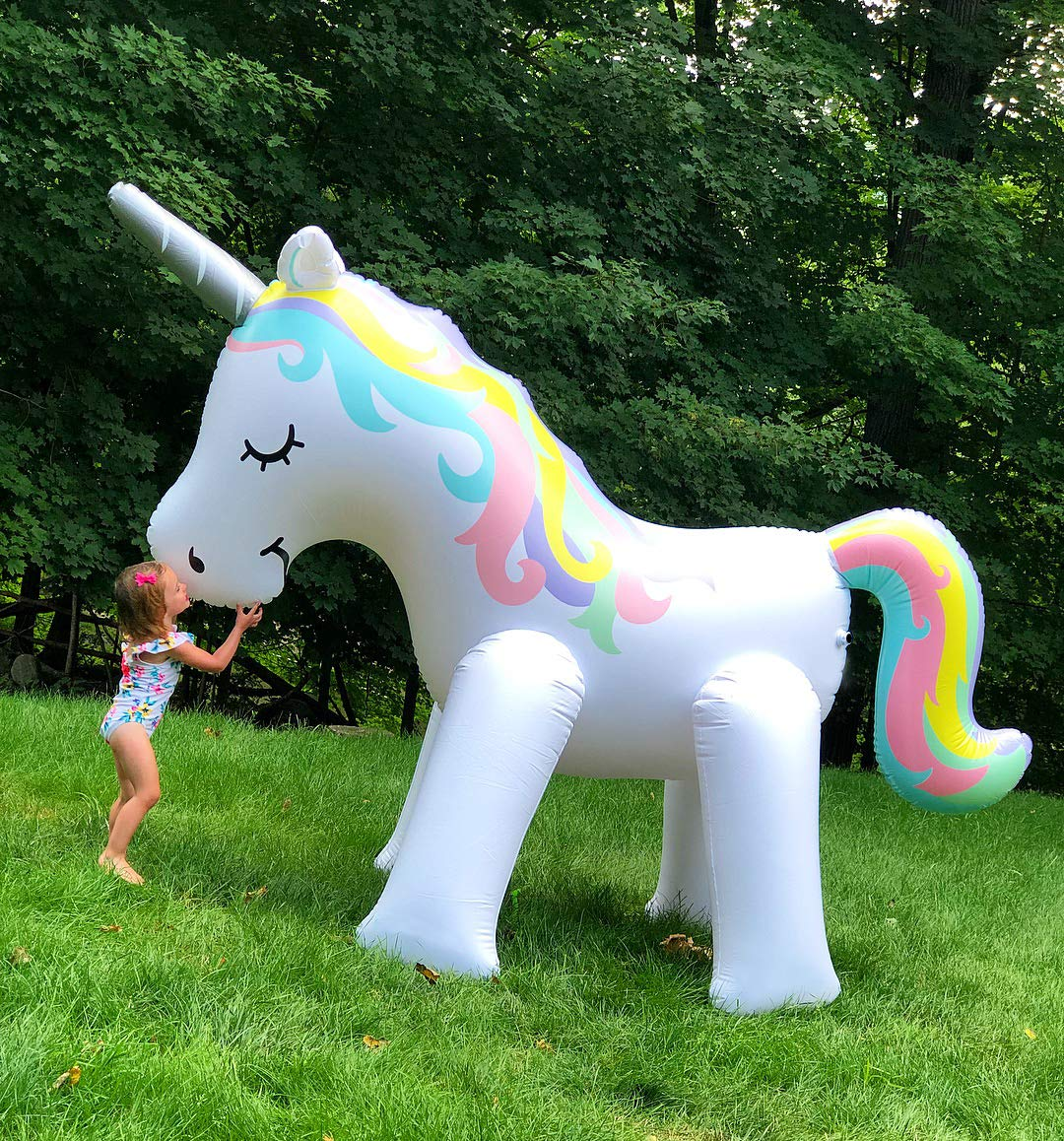LANGXUN Ginormous Inflatable Unicorn Yard Sprinkler Toy for Kids, Perfect for Unicorn Party Supplies & Outdoor Summer Sprays Water Toys for Toddlers 8