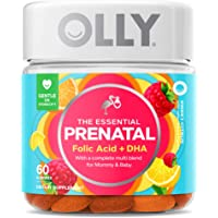 Olly The Essential Prenatal Gummy Multivitamin, 30 Day Supply ( Gummies), Sweet, Folic Acid, Vitamin D, Omega 3 DHA…