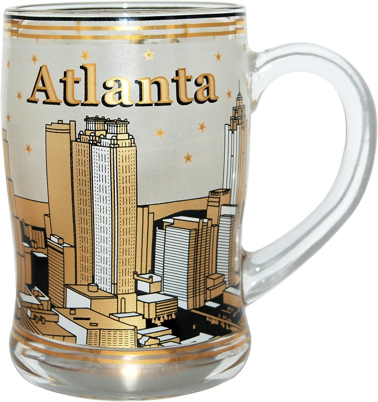 Beer Mug of The Atlanta Skyline in Vintage Gold Design