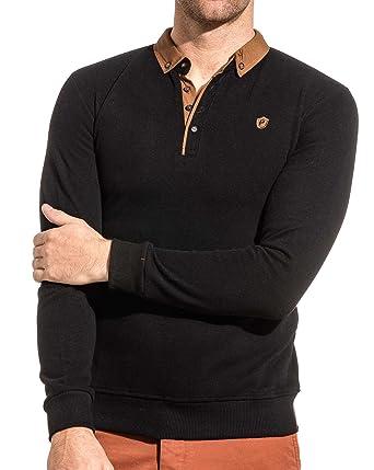 meilleur service 00af2 ebf53 BLZ Jeans - Pull Homme Noir à col Polo - Couleur: Noir ...