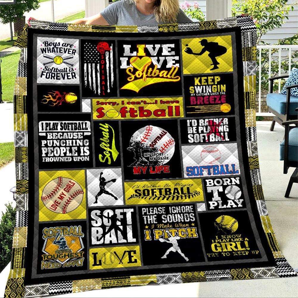 Puurbol I Love Softball Quilt Blanket All-Season Comforters