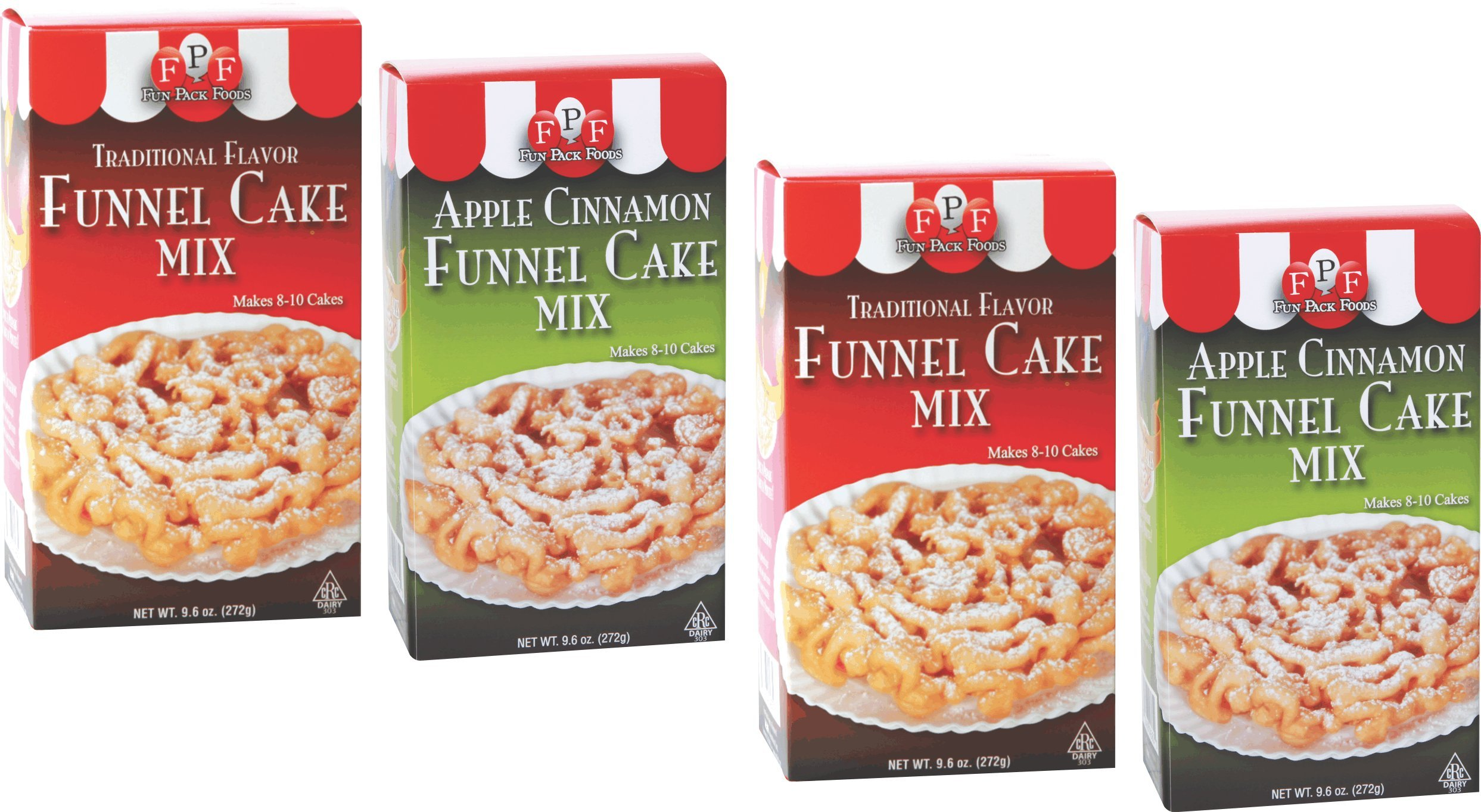 Fun Pack Foods - Traditional & Apple Cinnamon Funnel Cake Mixes (Pack of 4)