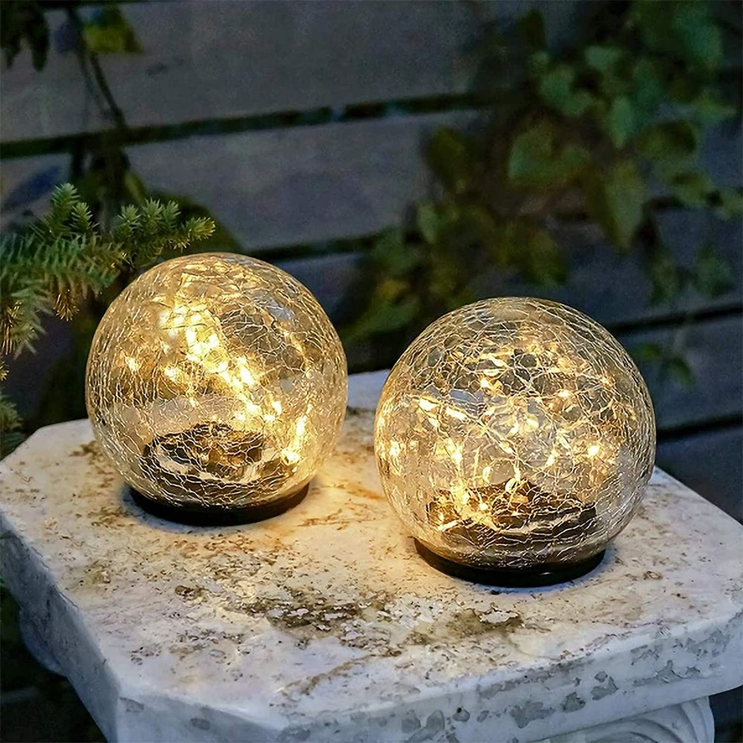 NC&APAUS Outdoor Solar Garden Lights Cracked Glass Balls In-Ground Solar Waterproof Lights Outdoor Solar Lamp for Lawn Patio Yard 2 Packs