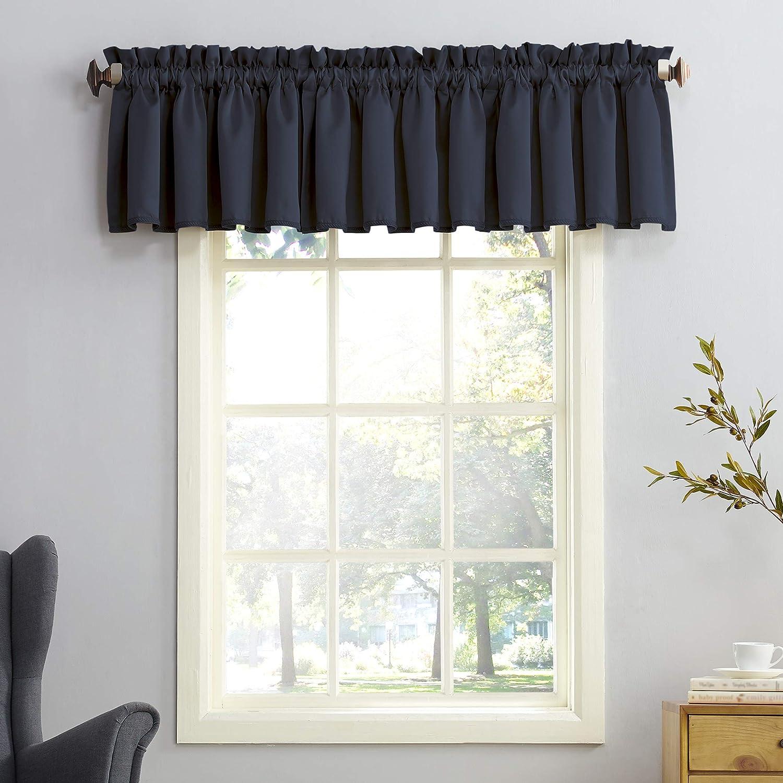 "Sun Zero Barrow Energy Efficient Rod Pocket Curtain Valance, 54"" x 18"", Navy Blue"