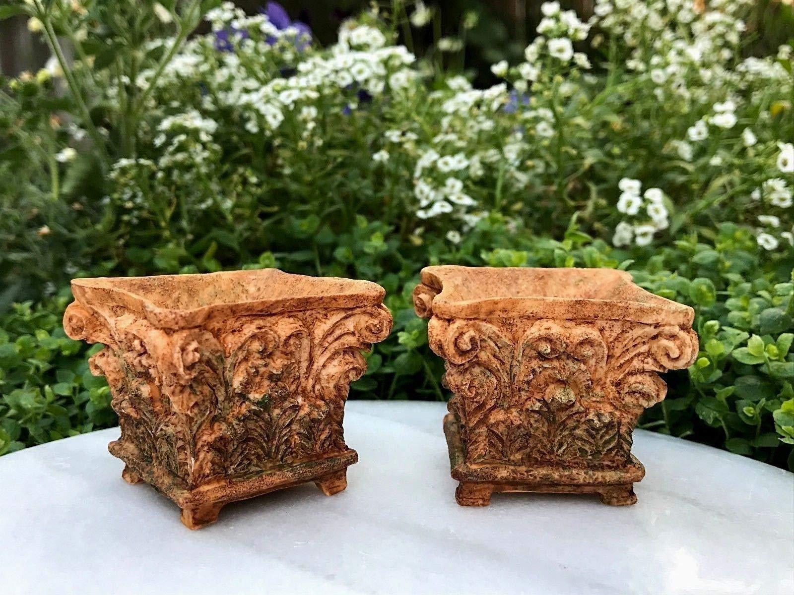 Adjore Miniature Dollhouse Fairy Garden ~ 2 Large Aged Corinthian Planter Pots ~ New ~ Best Outdoor Accessory
