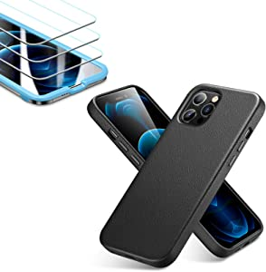 ESR Premium Real Leather Black Case for iPhone 12/iPhone 12 Pro + [3-Pack] ESR Tempered-Glass Screen Protector for iPhone 12/12 Pro