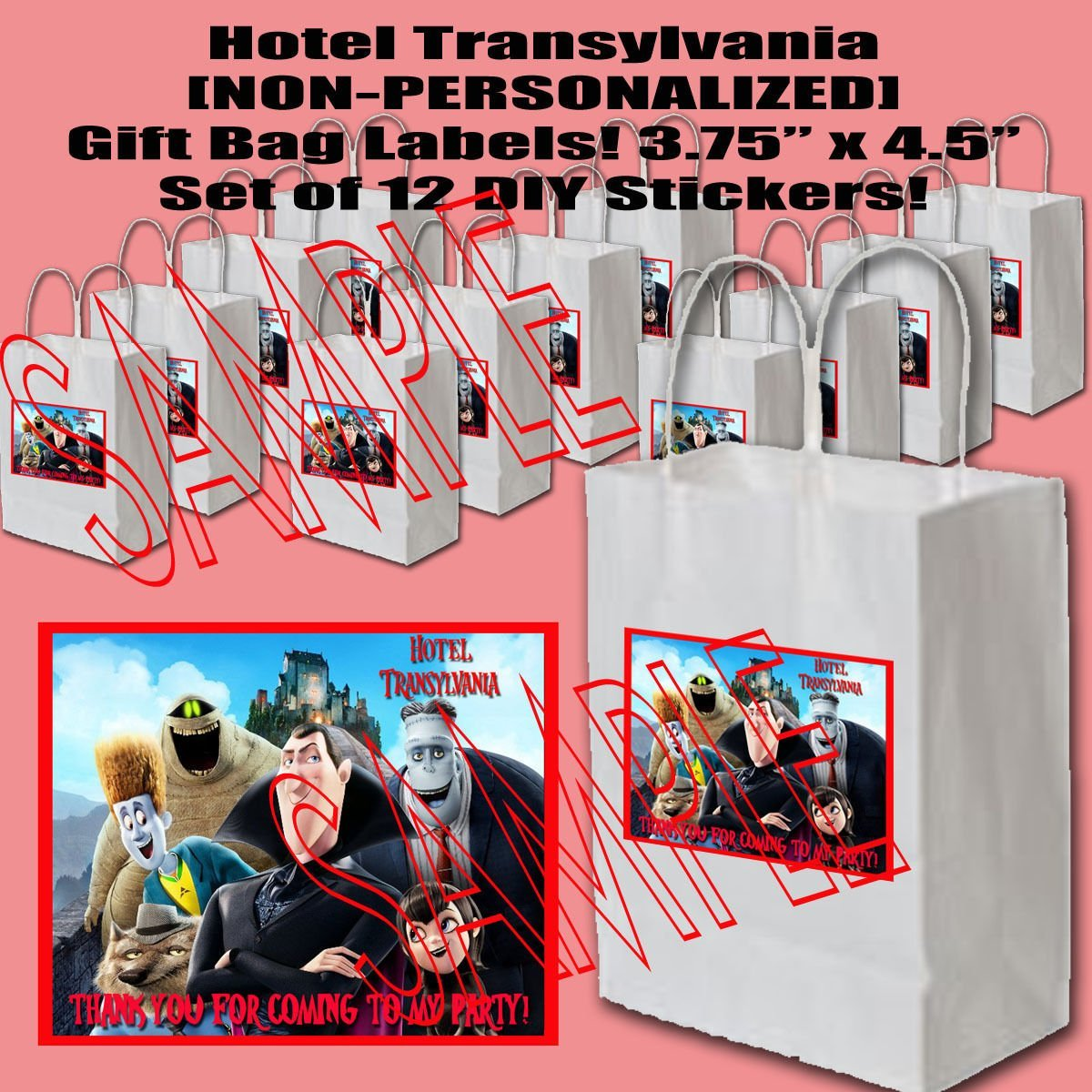 Hotel Transylvania Party Favors Supplies Decorations Gift Bag Label STICKERS ONLY 3.75'' x 4.75'' -12 pcs