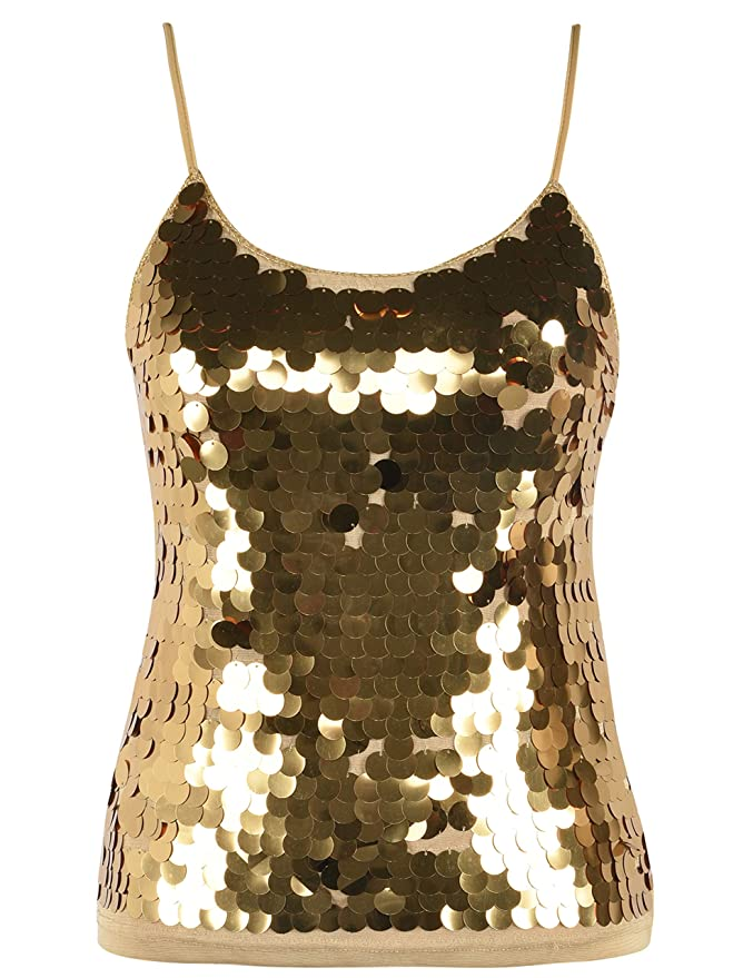 c8002c8bfb2d6 PrettyGuide Women s Sequin Tank Top Spaghetti Strap Camisole Sparkle Club  Vest Top at Amazon Women s Clothing store