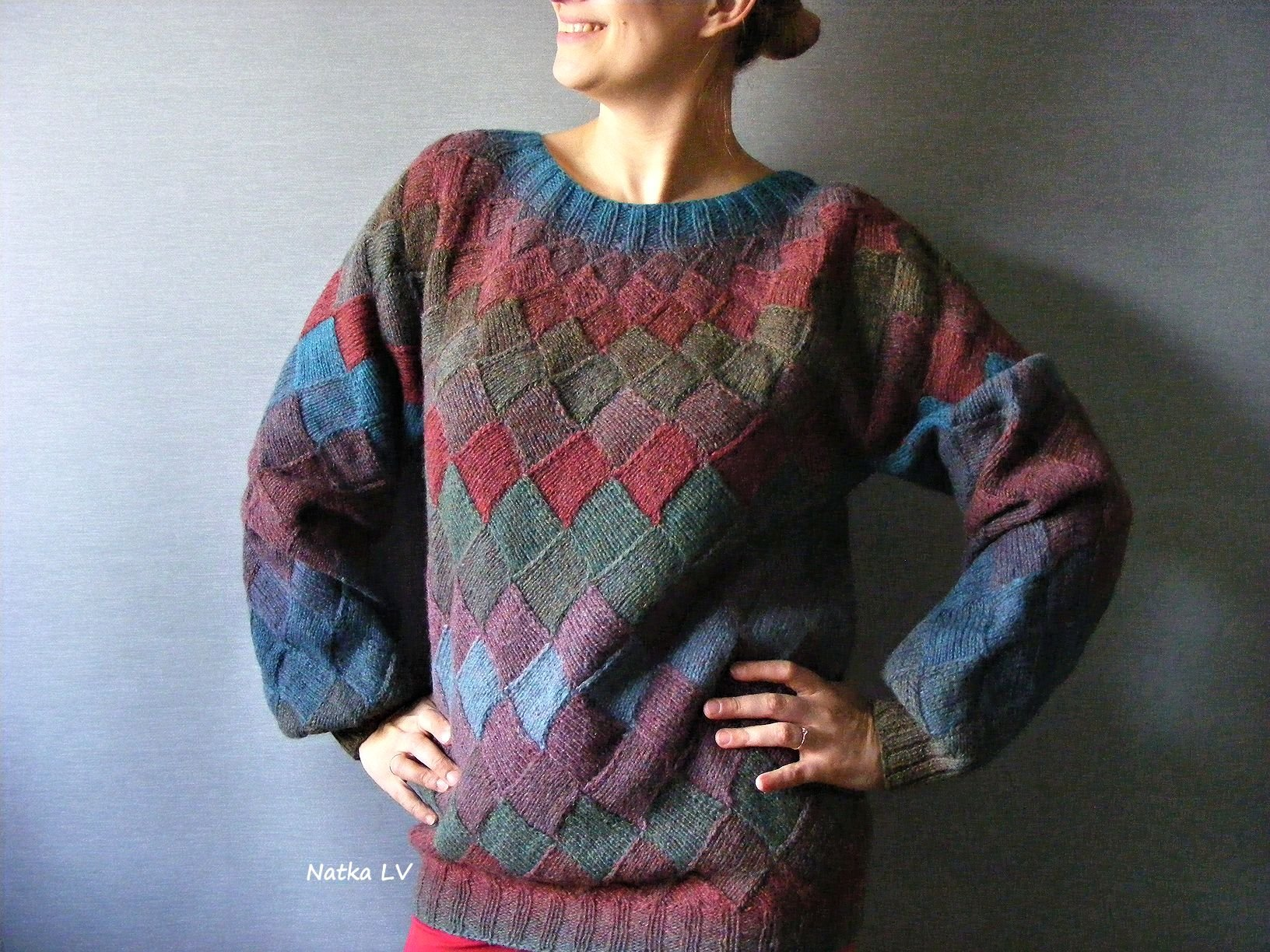 Plus size knit wool sweater, womens knitted sweater, entrelac sweater, natural wool clothes, boho bohemian knitwear, winter women sweater