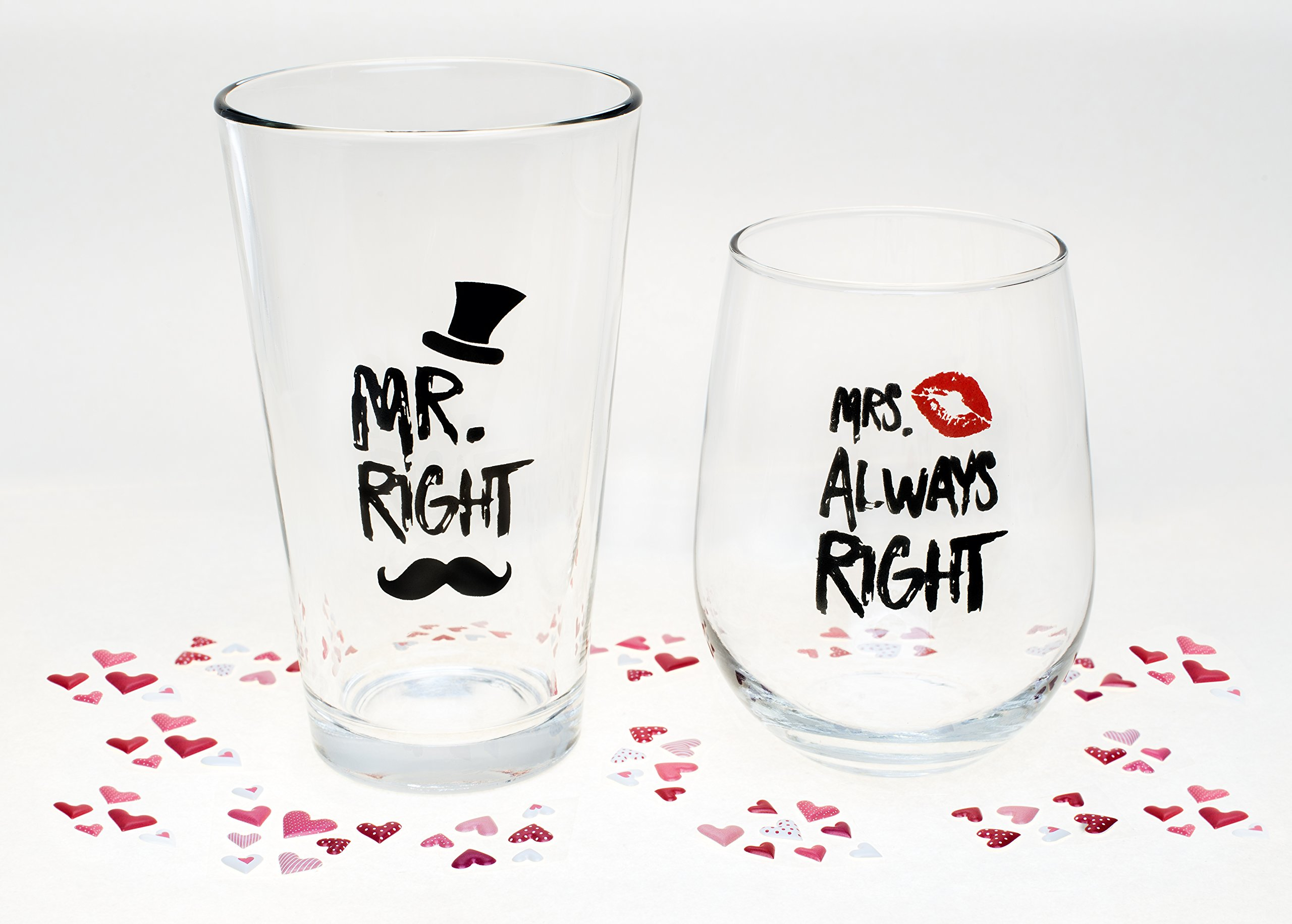 Funny Wedding Gifts - Mr. Right and Mrs. Always Right Novelty Wine Glass & Beer Glass Combo - Engagement Gift for Couples by The Plympton Company (Image #4)