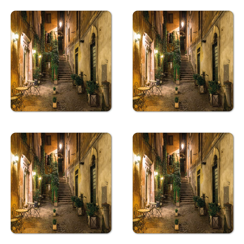 Ambesonne Italian Coaster Set of Four, Old