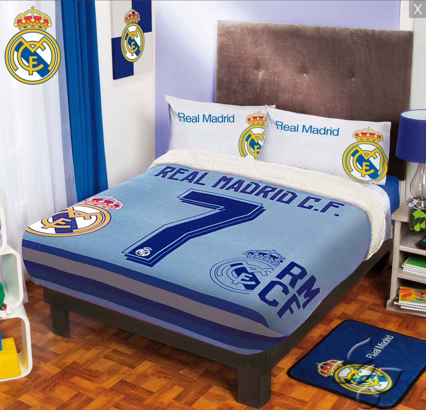 CRISTIANO RONALDO CR7 REAL MADRID C.F. ORIGINAL LICENSED FUZZY FLEECE BLANKET 4 PCS TWIN SIZE