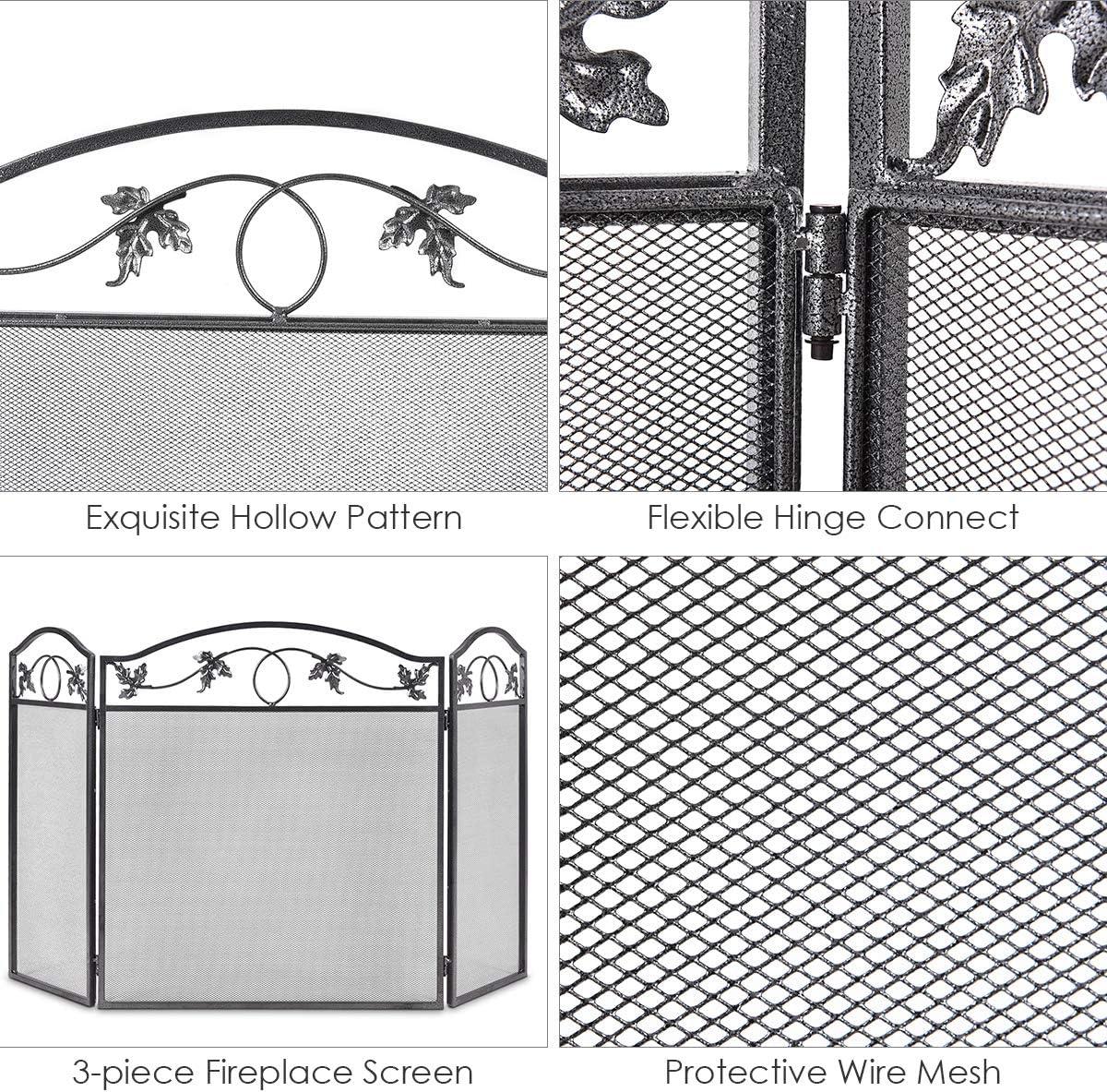con motivo a foglie per bambini e animali domestici Casart Parascintille pieghevole a 3 pannelli per interni ed esterni