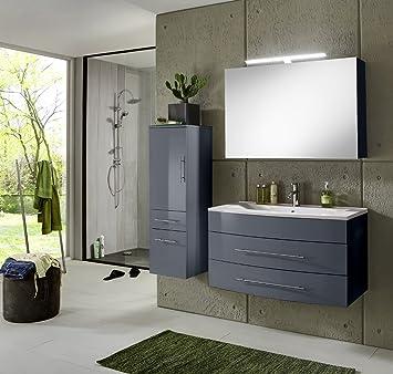 SAM® Badmöbel Set Zürich Deluxe, 100 Cm, In Hochglanz Grau, 3tlg