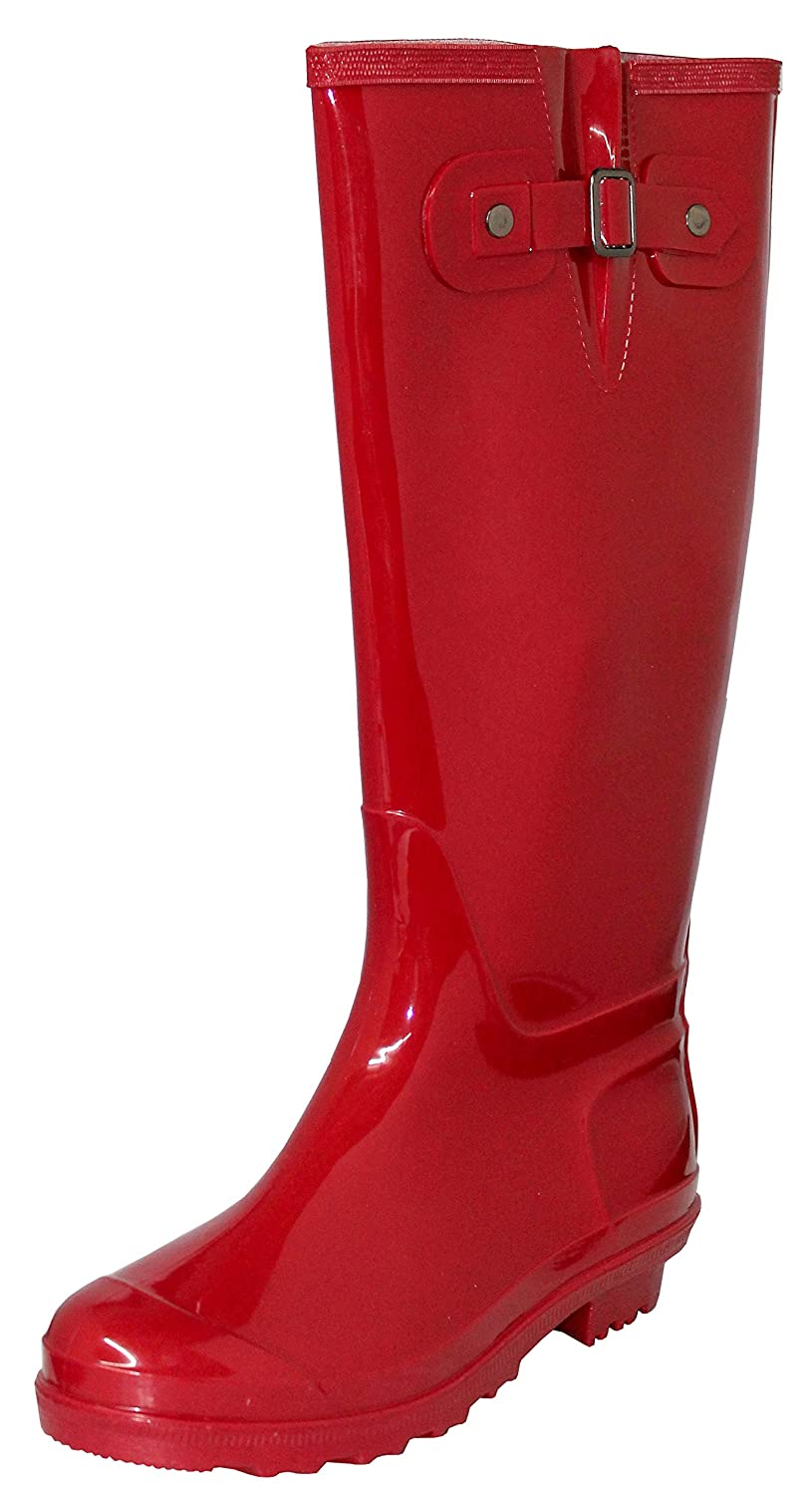 Women's Rubber Waterproof Rain Boots, 15 1/2 Inches B01N1G6BNH 9 B(M) US|Red